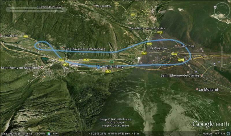 enregistrement du circuit 2400 ft main droite piste 34 St Rémy