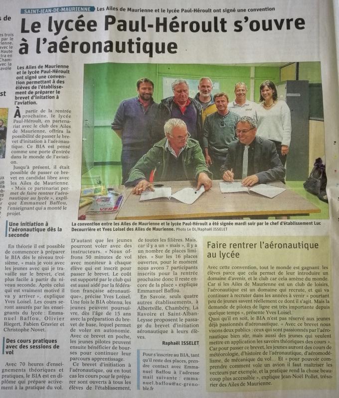 Dauphiné Libéré du 27 mai 2019